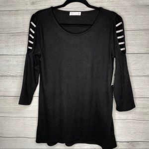 NEW 89th and Madison Black Cold Shoulder Sweater
